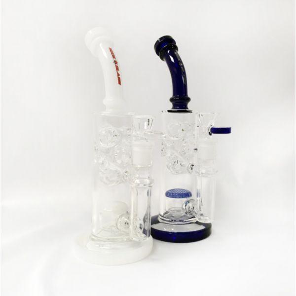 "NICE GLASS - 10"" SWISS & HONEYCOMB DRUM PERC BUBBLER"
