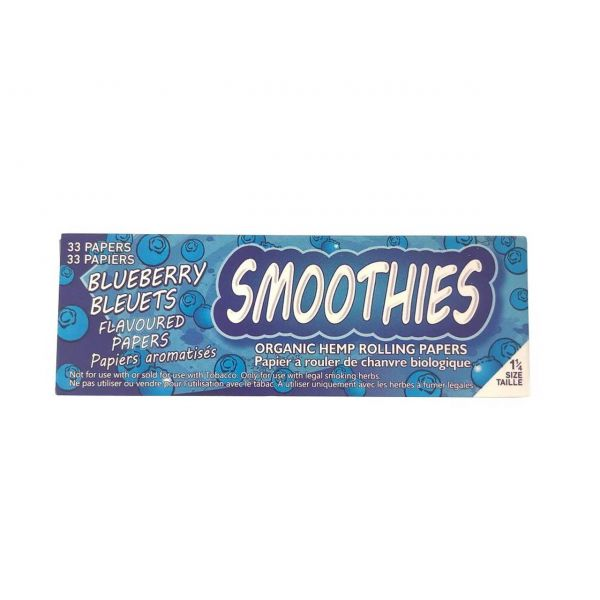 SMOOTHIES 1 1/4 ORGANIC HEMP BLUEBERRY FLAVORED ROLLING PAPERS