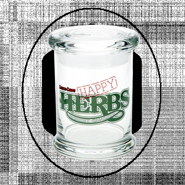 420 SCIENCE - POP-TOP LARGE GLASS JAR - CHEECH&CHONG, HAPPY HERB