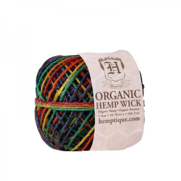 Hemptique Beeswaxed Variegated Hemp Cord (Hemp Wick) 20 1mm 100FT (61m) - Variegated Rainbow