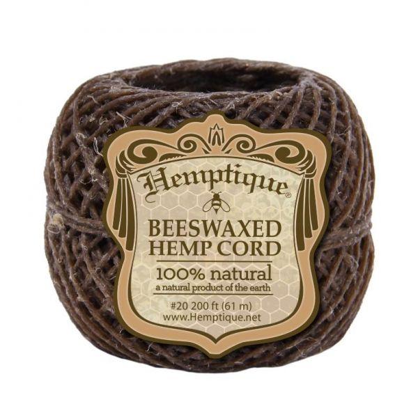 HEMPTIQUE - BEESWAXED ORGANIC HEMP CORD (HEMP WICK) #20, PACK OF 200 ft