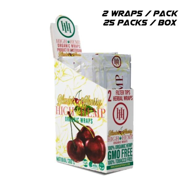 HIGH HEMP ORGANIC WRAPS - BLAZIN' CHERRY / 25 PACKS