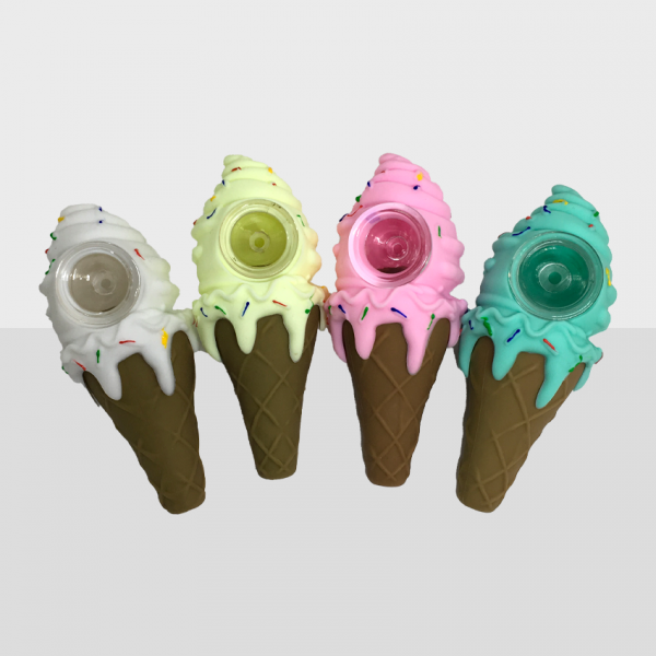 ICE CREAM - BPA-FREE SILICONE PIPE WITH GLASS BOWL