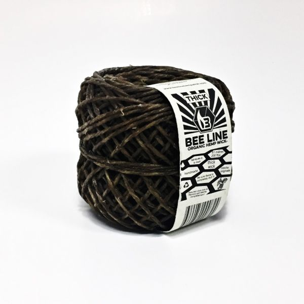 BEE LINE - HEMP WICK (THIN) - ORGANIC HEMP & BEESWAX, SPOOL OF 200ft