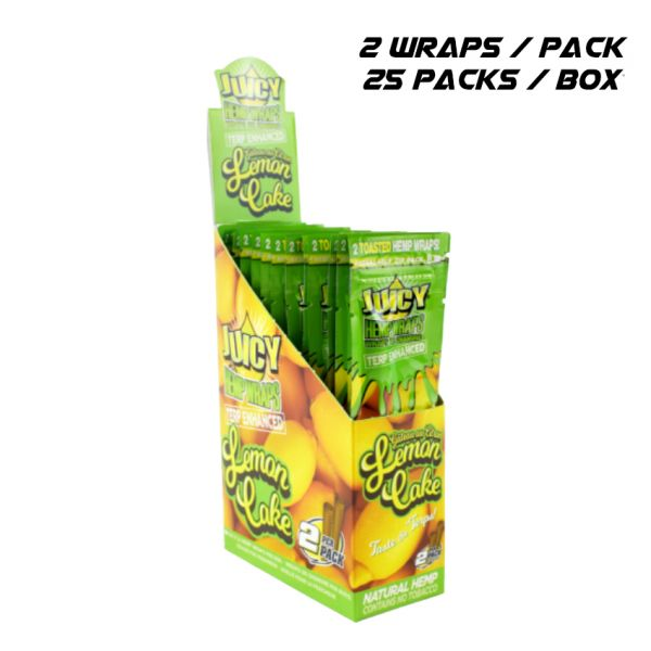 JUICY TERP ENHANCED HEMP WRAPS - LEMON CAKE / 25 PACKS