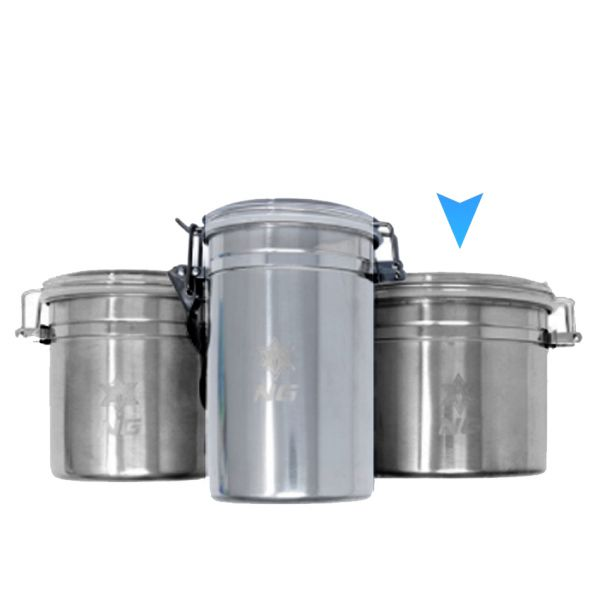NICE GLASS - STAINLESS METAL CANISTER, WIDE
