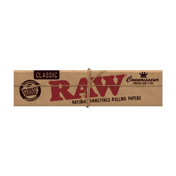 RAW CLASSIC CONNOISSEUR - KING SLIM W/ TIPS / PACK OF 50