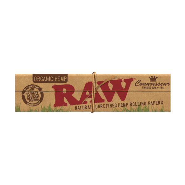 RAW ORGANIC CONNOISSEUR - KING SLIM W/ TIPS / PACK OF 50