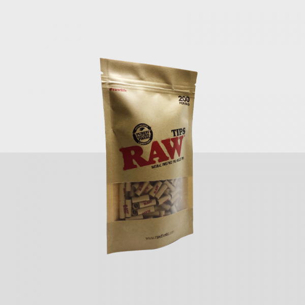 RAW TIPS, NATURAL UNREFINED PRE-ROLLED TIPS, PACK OF 200