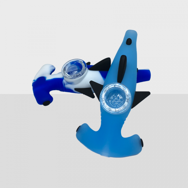 SHARK - BPA-FREE SILICONE PIPE WITH GLASS BOWL