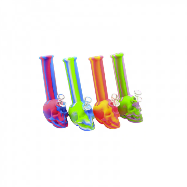 8.5 INCH SILICONE SKULL BEAKER -ASSORTED COLOR
