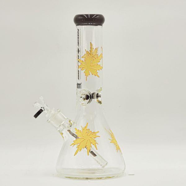"NICE GLASS - 13"" TALL 7mm THICK ELECTROPLATED MARIJUANA LEAF BEAKER"