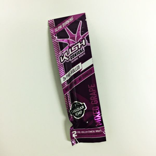 KUSH CONICAL PRE ROLLED HERBAL WRAPES 2 IN A PACK-MIXED GRAPE