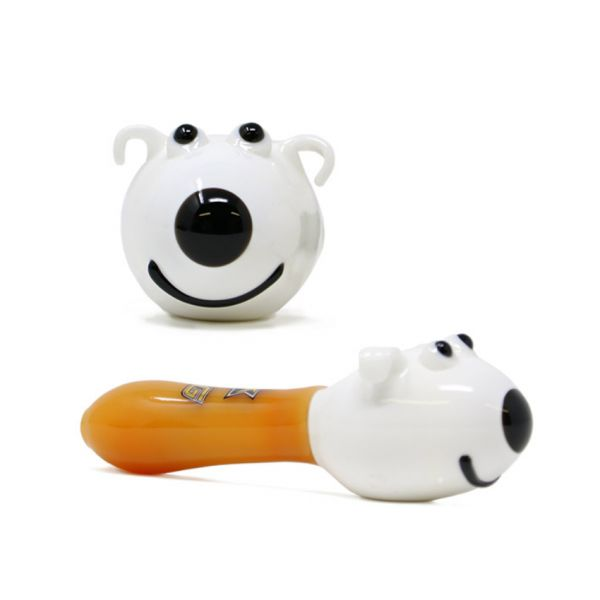 "NICE GLASS - 5"" WHITE DOG HAND PIPE"